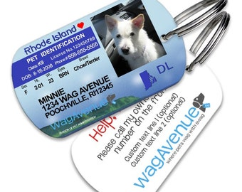 Rhode Island Driver's License Pet Tag - Personalized Pet Tag, Stainless Steel Pet Tag, Dog License ID, Dog License Tags, Dog ID Tag