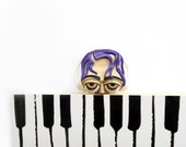 Polymer Clay Bookmark, Gift for Music Lovers