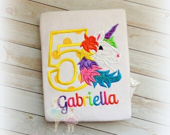 Unicorn birthday shirt - rainbow unicorn birthday shirt - rainbow mane unicorn - girls birthday shirt - embroidered rainbow unicorn shirt