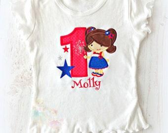 Girls 4th of July birthday shirt - Patriotic birthday shirt - girl sparkler birthday shirt - fireworks birthday shirt - 1st birthday shirt