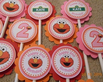 Elmo Cupcake Toppers-Sesame Street Cupcake Toppers-Elmo Birthday Decoration-Sesame Street Decoration-Elmo Party Decoration-Girl's