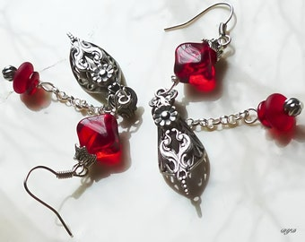 Earrings - Silver With Red Dangle