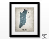 Belize Map Art Print - Home Is Where The Heart Is Love Map - Original Custom Map Art Print Available in Multiple Sizes