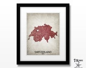 Switzerland Map Art Print - Home Is Where The Heart Is Love Map - Original Custom Map Art Print Available in Multiple Sizes