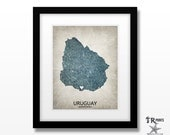 Uruguay Map Art Print - Home Is Where The Heart Is Love Map - Original Custom Map Art Print Available in Multiple Sizes