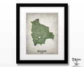 Bolivia Map Art Print - Home Is Where The Heart Is Love Map - Original Custom Map Art Print Available in Multiple Sizes