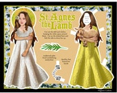 Saint Agnes the Lamb Catholic dress up DIY digital download paper doll