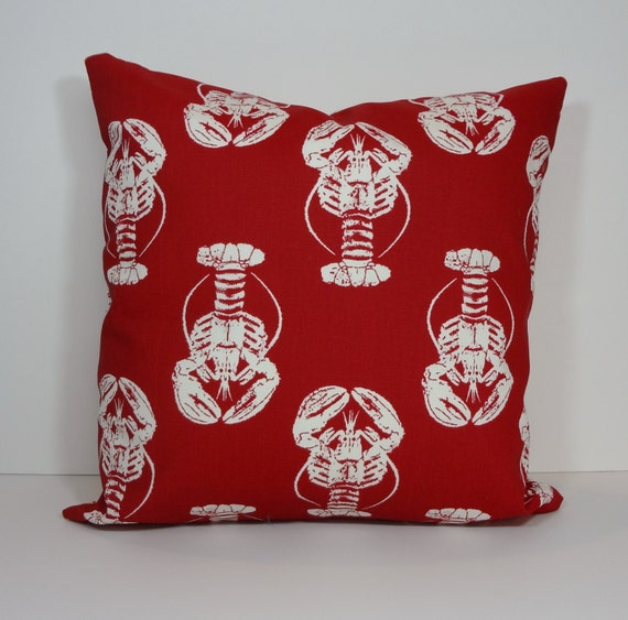 Lobster Red and White Pillow Cover Throw Pillow Cushion 18 x