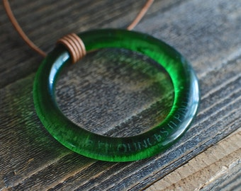 Upcycled Sprite Bottle Pendant Necklace | Eco-friendly Jewelry