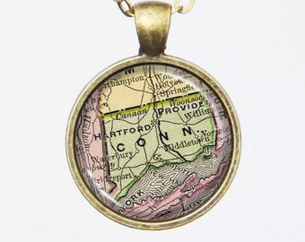 Connecticut State Map Necklace - Map Pendant, United States -Vintage Map Series