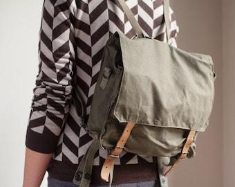 Vintage Deadstock Yugoslavian Army Satchel Bag Survival Kit Rucksack Military Canvas Backpack