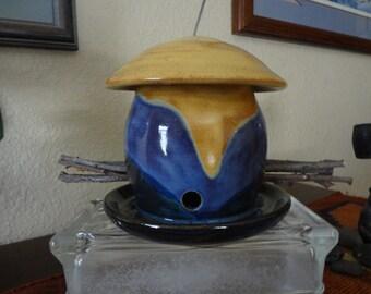 Bird Feeder Ceramic Goldenrod Blue/Green Purple #107