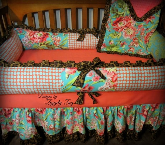 Baby Crib bedding, Girl Baby Bedding, Floral Baby Bedding, Crib Baby Bedding,  2 or 3 piece set, baby bedding, Coral Baby bedding