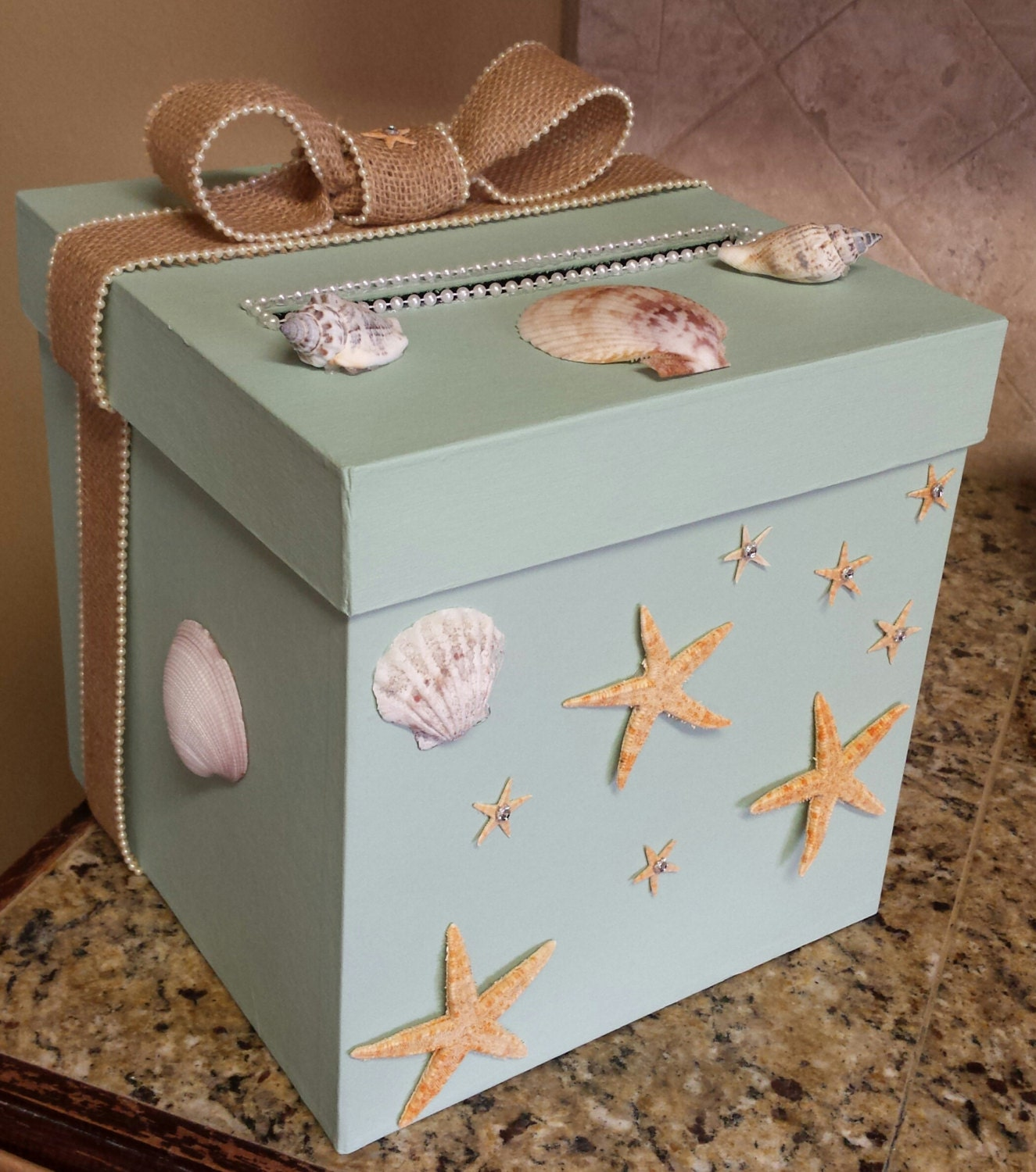 Wedding Gift Card Box Beach Theme : Under the Sea Ocean Beach money gift card one tier box for a