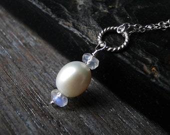 Freshwater Pearl Necklace with Rainbow Moonstone on Sterling Silver - Grace by Inkin on Etsty