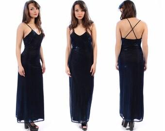 METALLIC Long Dress 90s Backless Maxi Party Evening Royal Blue Spaghetti Criss Cross Strap Open Back Backless Vintage Grunge Goth Medium