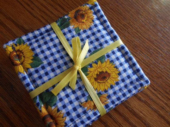 Handmade fabric coasters set of 4 blue check and sunflower for Handmade drink coasters
