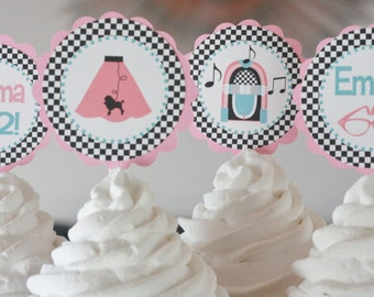 12 - Pink Black Blue 1950's Jukebox Music Poodle Skirt Sock Hop Rock n Roll Jukebox Theme Birthday Cupcake or Cake Toppers - Party Pack Sale