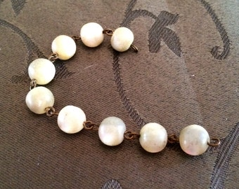 Vintage Mother of Pearl Unpolished Necklace Pieces Chain Gold Linked Link Jewelry Supply