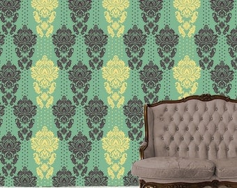 Removable Wallpaper- OBADIAH- Peel & Stick Self Adhesive Fabric Temporary Wallpaper-Repositionable-Reusable- FAST. EASY.