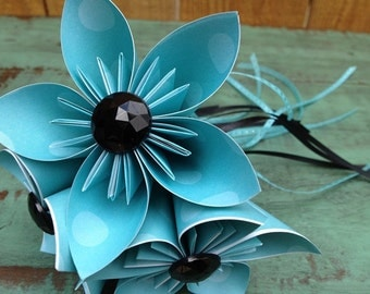 Black, White and Light Blue Whimsical Paper Flower Wand