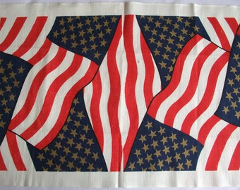 Fab Vintage Retro 70s Tea Towel or Flag with US Stars N Stripes Flag Design in Linen