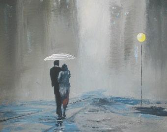 ACEO Print Romantic walk in the rain #11