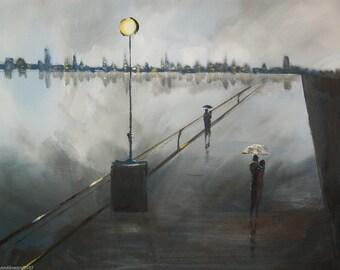 ACEO Print Romantic walk in the rain #19