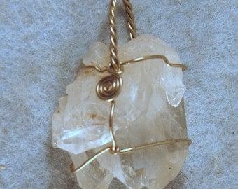 Arkansas Rainbow Crystal Cluster Wire Wrapped Pendant