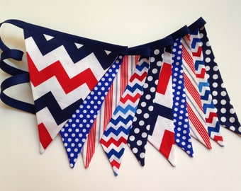 Red, White & Blue Patriotic fabric pennant banner bunting, flag banner, 4th of July decoration, Memorial Day decor, Nautical photo prop