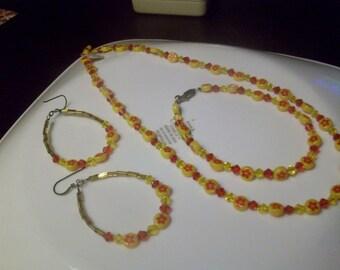 Chinese new year  millifiori beaded necklace set    -  4 pc set