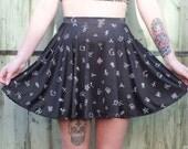 Black Everyday Demons Skater Skirt