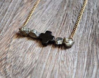 Pyrite and Black Cross Necklace