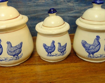 vintage blue white ceramic chicken canisters with lids
