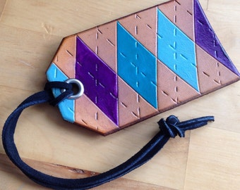 Leather Luggage or Bag Tag Argyle Pattern OOAK - Love That Leather