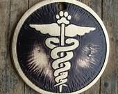 Caduceus , Medical Pet Tag , Medic Alert, Etched Brass Dog Tag, Pet ID Tag