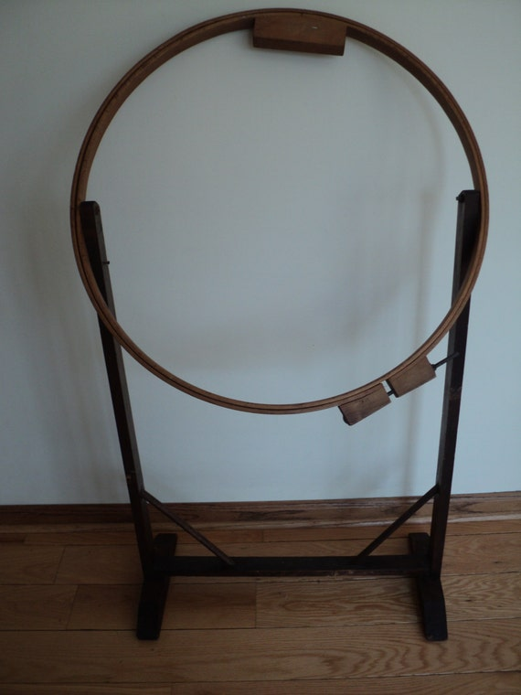 Antique Embroidery Stand Round Hoop With Rustic Round By RRGS