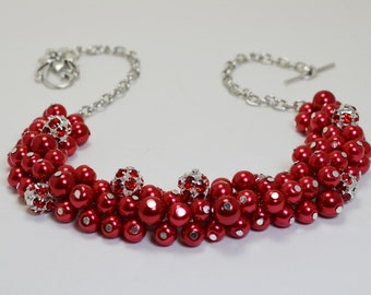 Pearl Necklace, Red Pearl and Rhinestone Chunky Necklace, Pearl Cluster Necklace, Bridal Jewelry, Red Bridesmaids Necklace, Chunky Necklace