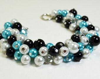 Pearl Bracelet, White,Turquoise and Black Pearl Cluster Bracelet. Black,Turquoise and White Wedding Combo, Black Chunky Pearl Bracelet
