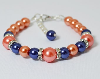 Pearl Bracelet, Coral and Navy Bracelet Set, Coral Jewelry, Pearl Bracelet, Coral Navy Wedding, Bridesmaids Jewelry, Bracelet and Earrings