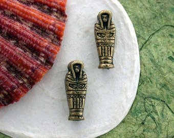 King Tut Beads, Pharoah Beads, Mummy Beads, Antique Brass Beads, Lead Free Pewter Beads, 1920's Vintage Reproductions, Made in USA  PB-003AB