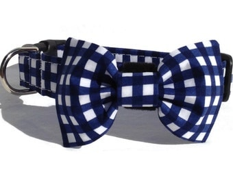 Navy Gingham Dog Bow Tie and Collar Set  for Small to Large Dogs