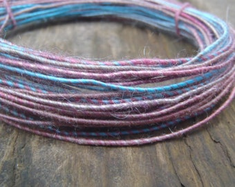 Fiber Wire Core Handspun Art Yarn 24 gauge wire Red Riding Hoods Wolf- Surf and Turf