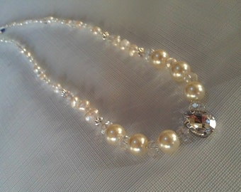 Sweetheart Choker Bridal Necklace, Freshwater Pearl,Crystal and Rhinestone Pear Shape Droplet Necklace, Something Blue Wedding Necklace SALE