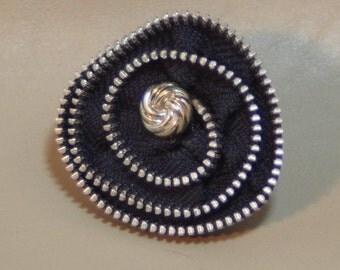 Brooch...Black zipper brooch