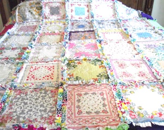 Vintage Hankies Rag Quilt Baby to King Size Custom Made to Order with Your Hankies or Mine