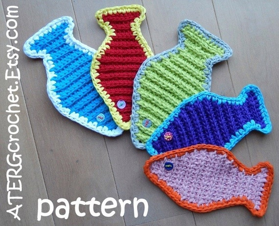 Free Crochet Fish Coaster Pattern : Items similar to Crochet pattern hot pot coaster fish by ...