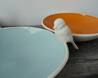 Porcelain Bird Dish, Handcrafted Ceramic bird feeder, Choose your glaze color