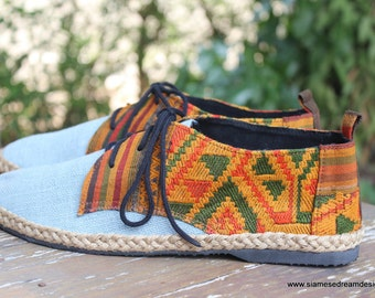 Vegan Oxfords, Men's Shoes In Natural Hemp & Colorful Laos Tribal Embroidery