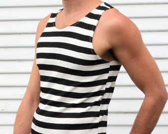 Striped Black and white mens tank, perfect sleek and casual fit